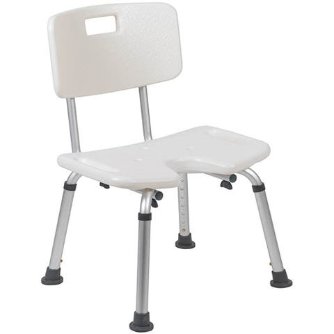 Offex Tool-Free and Quick Assembly, 300 Lb. Capacity, Adjustable White Bath & Shower Chair with U-Shaped Cutout