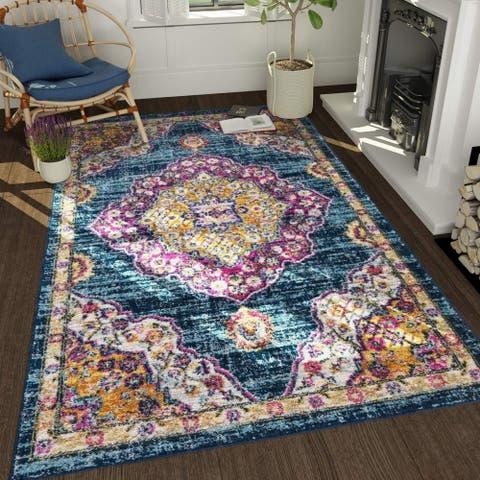 Transitional Matchine-Made Rugs 8'X 10' Area Rugs Floral Print Carpet Rug - 8' x 10' - 8' x 10'