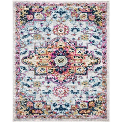 Transitional Matchine-Made Rugs 8'X 10' Area Rugs Floral Print Carpet Rug - 8' x 10'