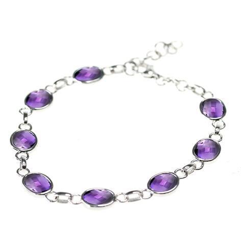 925 Sterling Silver African Amethyst Bracelet