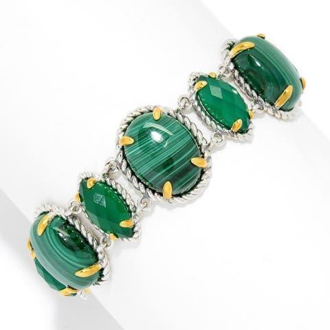 925 Sterling Silver Malachite,Green Agate Bangle