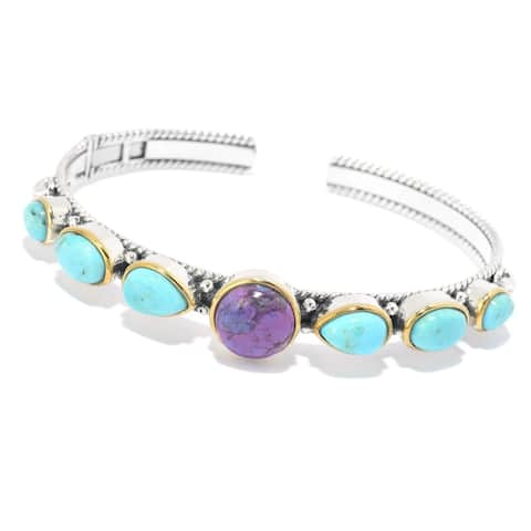 925 Sterling Silver Purple Mohave Turquoise,Blue Mohave Turquoise Bangle
