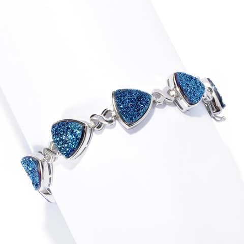 925 Sterling Silver Blue Drusy Bracelet