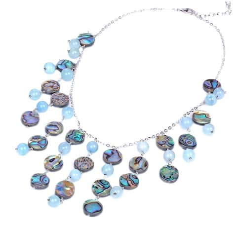 V3 Jewelry 925 Sterling Silver with Abalone Shell and Aquamarine Statement Necklace for Women