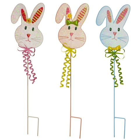 "24"" Metal Easter Bunny Garden Stakes, Set of 3"