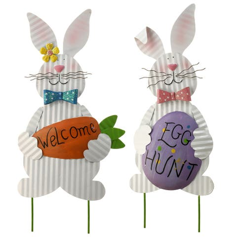"""20"""" Metal Easter Bunny Pair Decoration"""