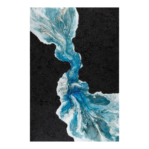 Aurelle Home Blue Rift and Black Abstract Wall Decor