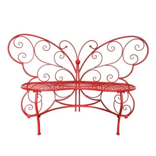 Link to Alpine Corporation Outdoor 2 Person Metal Butterfly Shaped Garden Bench, Red Similar Items in Patio Furniture