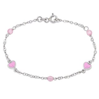 Link to Miadora 18k White Gold Baby Pink Enamel Heart and Pink Crystal Beads Charm Station Bracelet - N/A Similar Items in Children's Jewelry
