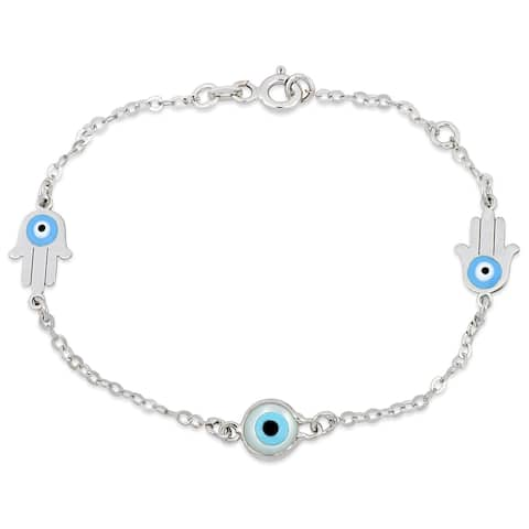 Miadora 18k White Gold Evil Eye and Hamsa Charm Station Bracelet