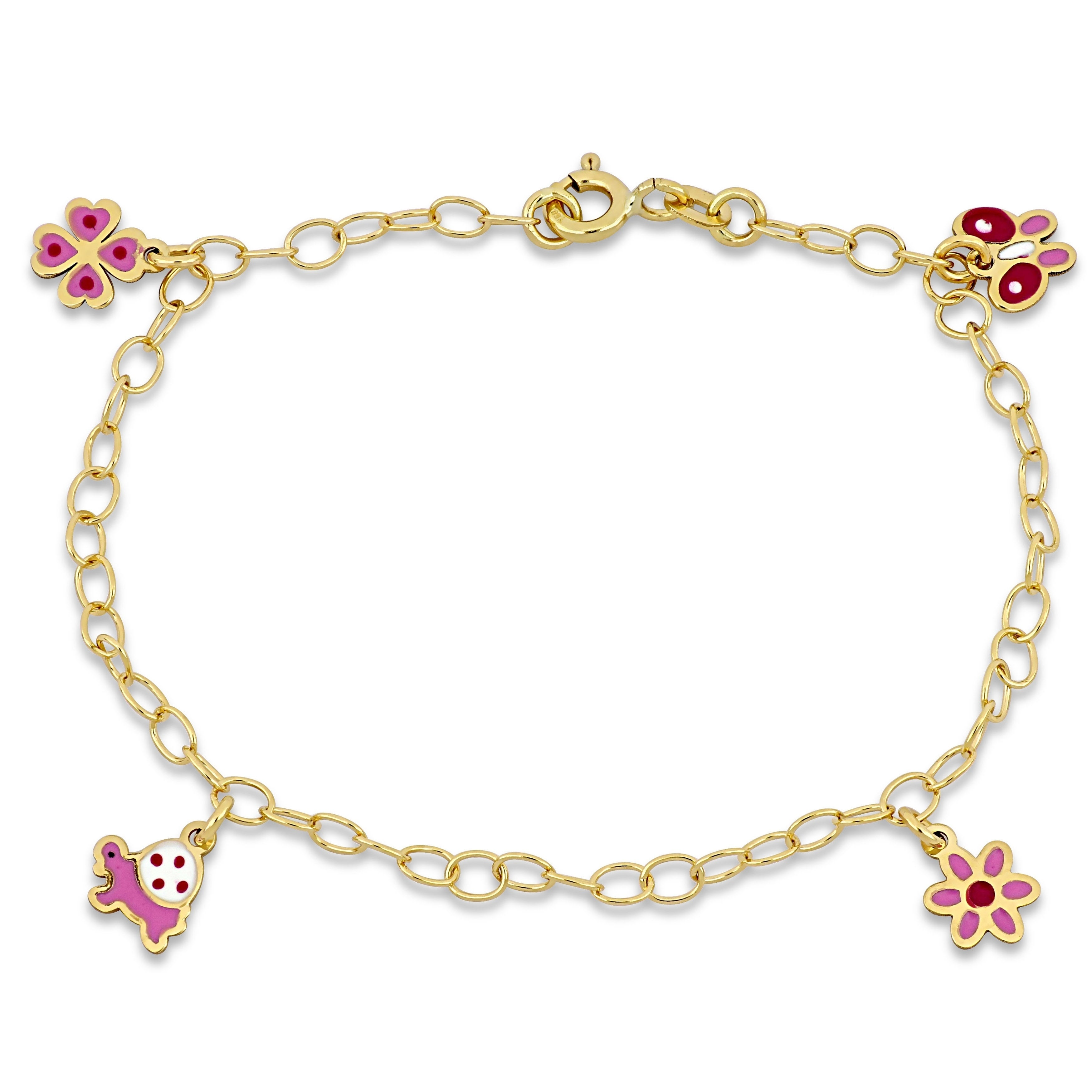 Butterfly and Turtle bracelet 6 inches 18K Yellow Gold Pink and white enamel Flower