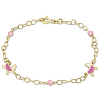 Link to Miadora 18k Yellow Gold Children's Stroller Charm and Beads Station Link Bracelet - N/A Similar Items in Children's Jewelry