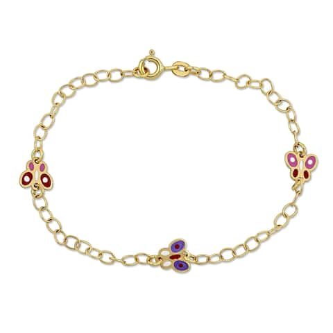 Miadora 18k Yellow Gold Baby Butterfly Station Link Bracelet - N/A