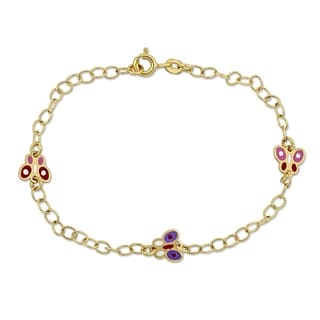 Link to Miadora 18k Yellow Gold Baby Butterfly Station Link Bracelet - N/A Similar Items in Children's Jewelry