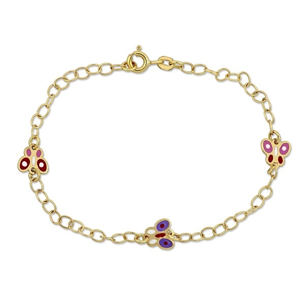 Miadora 18k Yellow Gold Baby Butterfly Station Link Bracelet - N/A. Opens flyout.