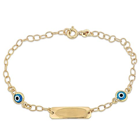Miadora 18k Yellow Gold Children's ID with Evil Eye Charm Station Link Bracelet