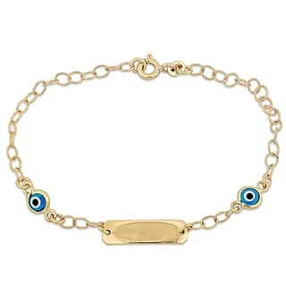 Link to Miadora 18k Yellow Gold Children's ID with Evil Eye Charm Station Link Bracelet - N/A Similar Items in Children's Jewelry
