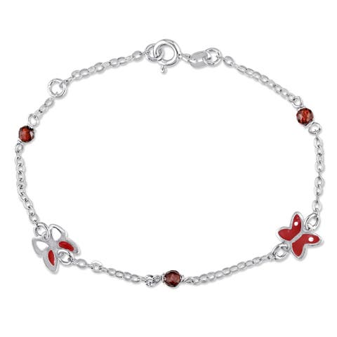Miadora 18k White Gold Red Crystal Beads Butterfly Station Baby Bracelet