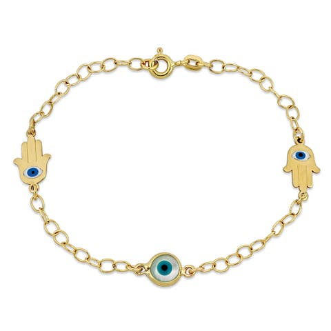 Miadora 18k Yellow Gold Evil-Eye and Hamsa Link Chain Children's Bracelet