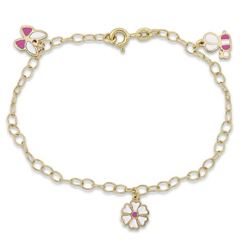 Miadora 18k Yellow Gold Children's Charm Link Bracelet - N/A