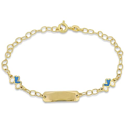 Miadora 18k Yellow Gold Children's ID with Motorcycle Charm Station Link Bracelet - N/A