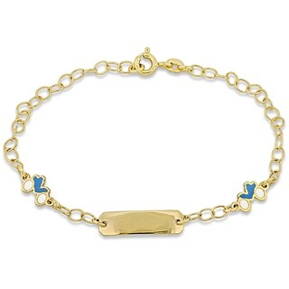 Link to Miadora 18k Yellow Gold Children's ID with Motorcycle Charm Station Link Bracelet - N/A Similar Items in Children's Jewelry