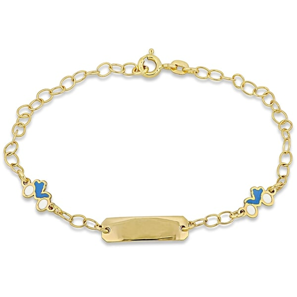 Miadora 18k Yellow Gold Children's ID with Motorcycle Charm Station Link Bracelet - N/A. Opens flyout.