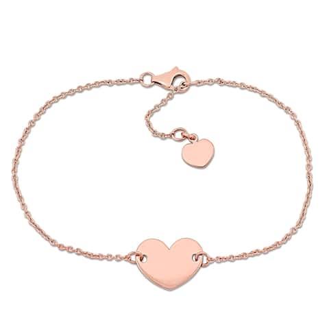 Miadora 18k Rose Gold Heart Charm Link Station Bracelet - N/A