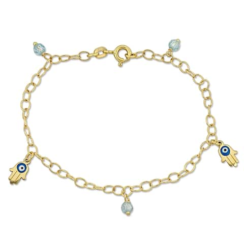 Miadora 18k Yellow Gold Children's Evil-Eye and Hamsa Link Charm Chain Bracelet