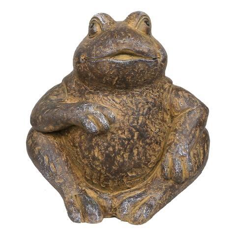 Alpine Corporation Frog Statue made of Rustic Stone, Indoor/ Outdoor