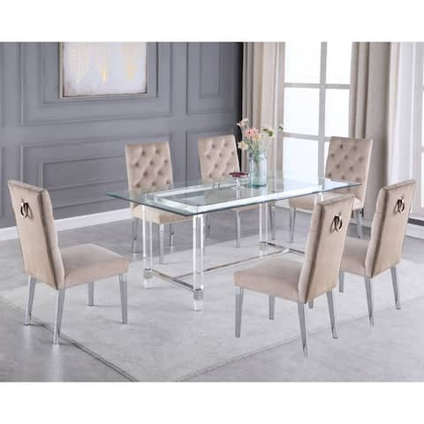 Best Quality Furniture Dining Set with Tufted Diamond Pattern Side Chairs