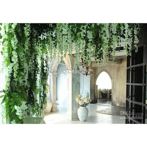 Artificial Silk White Wisteria Flower vine