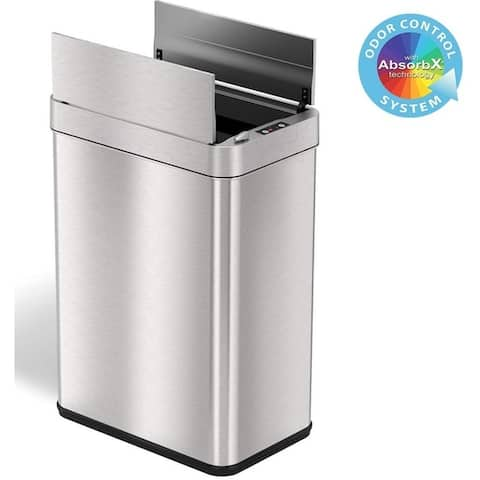 iTouchless 13 Gallon Wings-Open Sensor Trash Can with AbsorbX Odor Filter and Pet-Proof Lid