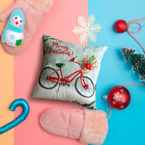 16x12 Decorative Pillow/Christmas Bike