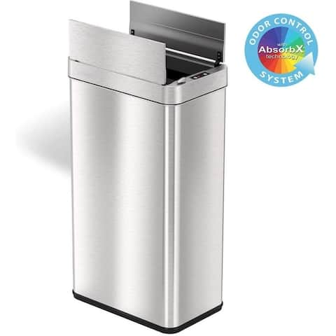 iTouchless 18 Gallon Wings Open Lid Sensor Trash Can with AbsorbX Odor Filter & PetGuard