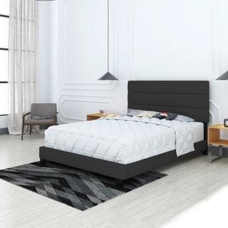Sleep Sync Simona Upholstered Tri Panel Channel Headboard Platform Bed Frame