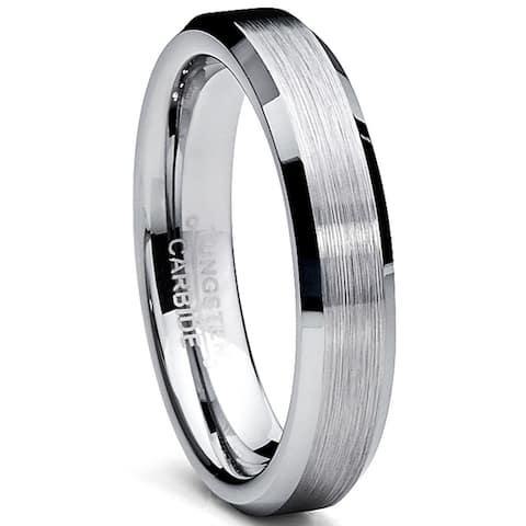 Oliveti Tungsten Carbide Men's Brushed Wedding Band Anniversary Ring Comfort Fit, 4MM Sizes 5 to 15