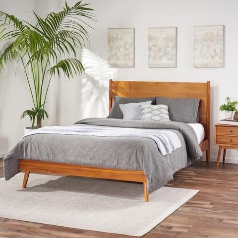 OkiOki Mid-century Acacia Wood Bed