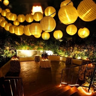 12.5ft Solar LED White String Lantern