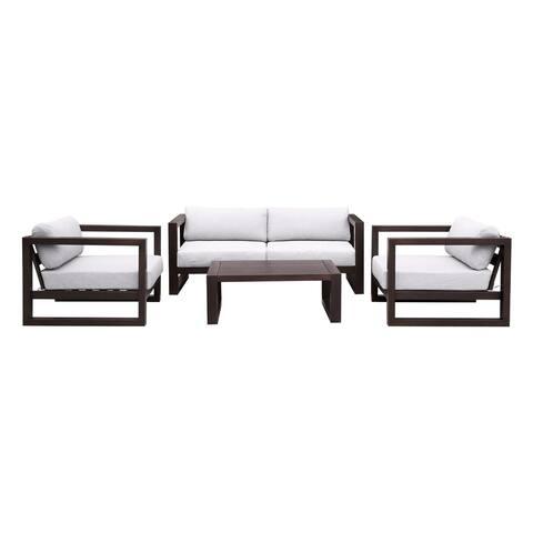 Paradise 4 Piece Outdoor Patio Eucalyptus Wood Sofa Seating Set