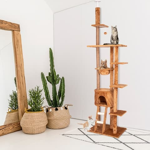 """Kinpaw 98"""" Large Cat Tree, Multi-Level Cat Tree Tower Condo w/ Scratching Posts, Kitten Play House Furniture"""