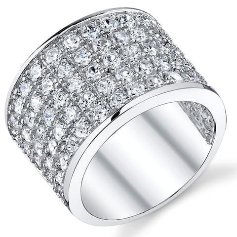 Oliveti David Beckham Sterling Silver Men's Championship Cubic Zirconia CZ Band Ring 15 MM Sizes 8 to 13