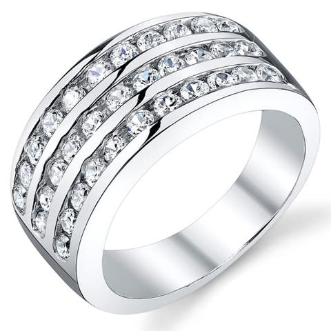Oliveti Men's Cubic Zirconia Wedding Band Ring Sterling Silver 10MM Sizes 7 to 12