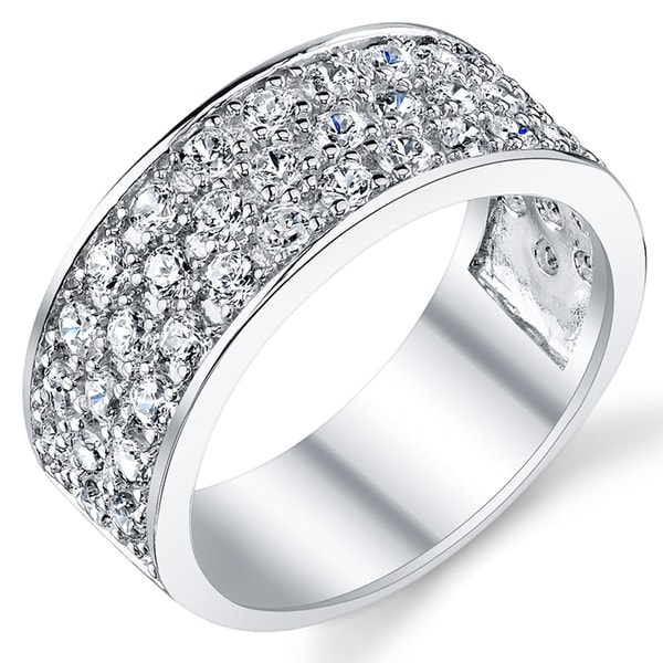 Oliveti Sterling Silver Men's Wedding Band Engagement Ring With Cubic Zirconia CZ 9MM 3 Row Sizes 7 to 13. Opens flyout.