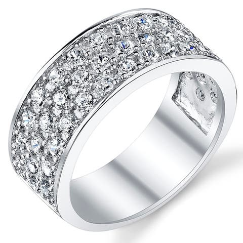 Oliveti Sterling Silver Men's Wedding Band Engagement Ring With Cubic Zirconia CZ 9MM 3 Row Sizes 7 to 13