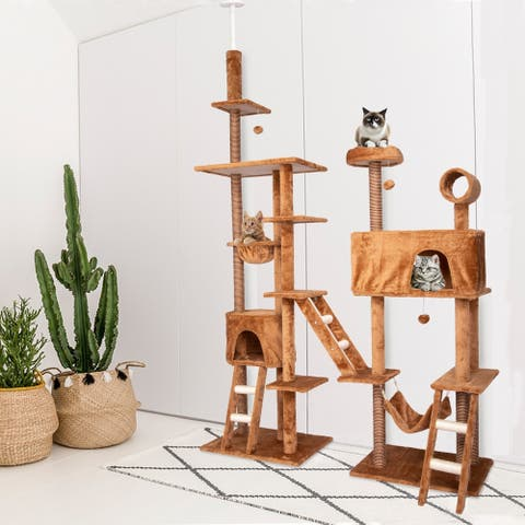 Kinpaw 98 Inches Large Cat Tree Condo, Multi-Level Cat Tower Pet Play House Kitten Furniture w/ Plush Perches, Removable Hammock