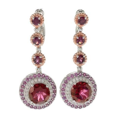925 Sterling Silver Red Quartz,Rhodolite Garnet,White Natural Zircon Earring