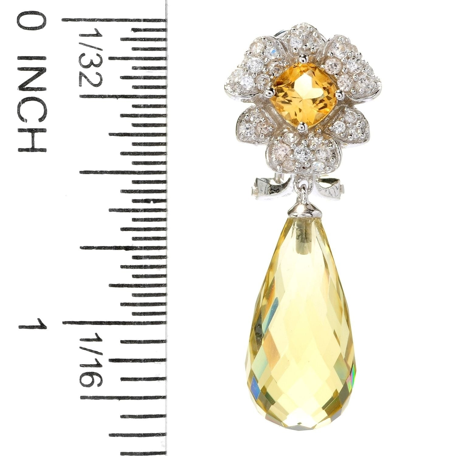 Sterling Silver Yellow /& Clear Cubic Zirconia Oval Stud Earrings Citrine Colour