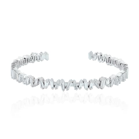 Artisan 18kt White Gold Baguette Diamond Cuff Bangle Handmade Jewelry