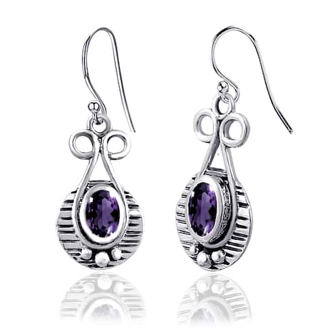 Amethyst, Citrine, Emerald, Ruby, Sapphire Sterling Silver Oval Dangle Earrings by Orchid Jewelry